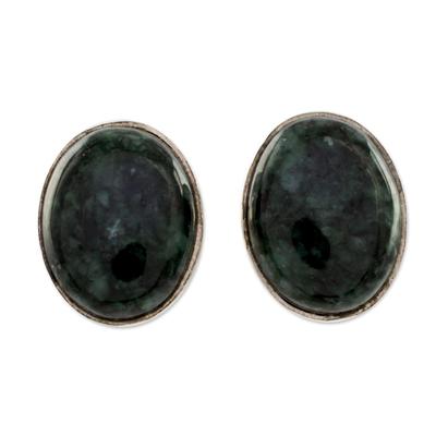 Modern Maya Jade Post Earrings with Sterling Silver