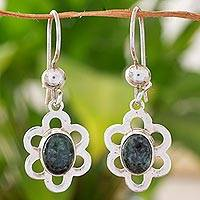 Jade dangle earrings, 'Dark Dappled Blossom' - Sterling Silver Floral Dangle Earrings with Dark Green Jade