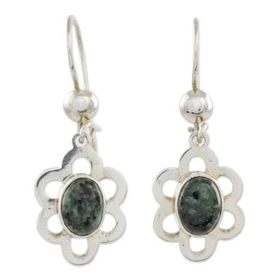 Sterling Silver Floral Dangle Earrings with Dark Green Jade