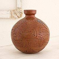 Ceramic decorative vase, 'Terracotta Labyrinths' - Nicaraguan Handcrafted Red-Brown Decorative Terracotta Vase