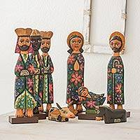 Wood nativity scene, 'Christmas in Antigua' (9 pieces) - Guatemalan Handcrafted Wood Nativity Scene (9 Pieces)