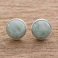 Jade stud earrings, 'Mayan Harmony in Green' - Circular Light Green Guatemalan Jade Stud Earrings