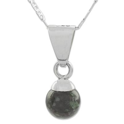 Dark Green Jade Silver Pendant Necklace from Guatemala