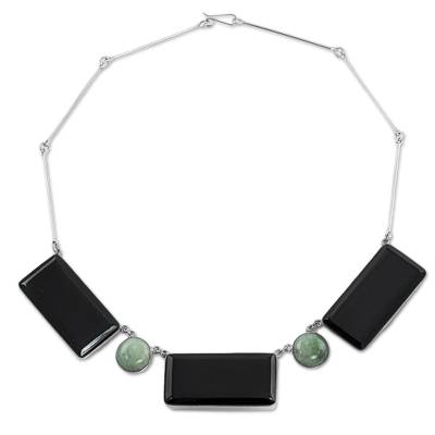 Jade pendant necklace, 'Natural Orchestra' - Black and Green Jade Pendant Necklace from Guatemala