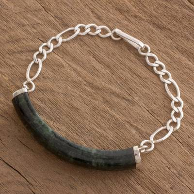 Jade link bracelet, 'Starry Night Sky' - Jade and Sterling Silver Link Bracelet from Guatemala