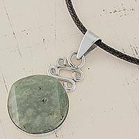 Jade pendant necklace, 'Circle of Truth' - Jade Circle Pendant Necklace Handmade in Guatemala