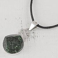 Jade pendant necklace, 'Circle of Truth in Dark Green' - Dark Green Jade Pendant Necklace from Guatemala