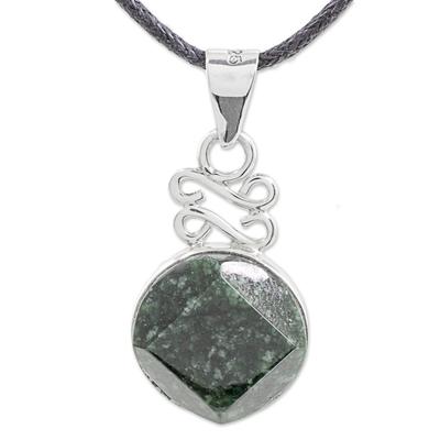 Jade pendant necklace, 'Circle of Truth in Dark Green' - Dark Green Jade Pendant Necklace from Guatemala