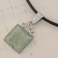 Jade pendant necklace, 'Gentle Waves' - Jade Oval Pendant Necklace Handmade in Guatemala