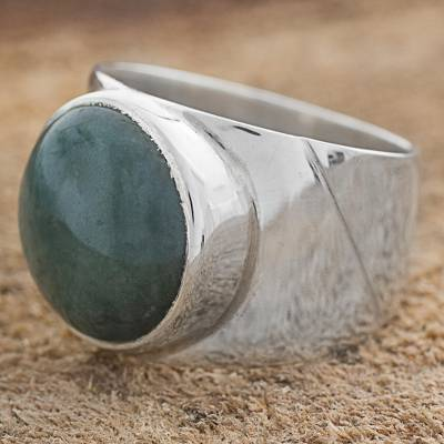 Jade dome ring, 'Living Energy' - Jade and Sterling Silver Dome Ring from Guatemala