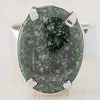 Jade cocktail ring, 'Dark Green Abstraction' - Dark Green Guatemalan Jade on Handmade Wide 925 Silver Ring