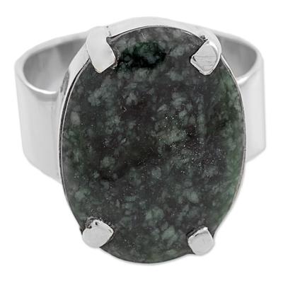 Jade cocktail ring, 'Dark Green Abstraction' - Dark Green Guatemalan Jade on Handmade Wide 925 Silver Ring