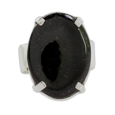 Jade cocktail ring, 'Black Abstraction' - Black Guatemalan Jade on Handmade Wide 925 Silver Ring