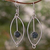 Jade dangle earrings, 'Dark Green Vortex' - Trendy 925 Sterling Silver Earrings with Guatemalan Jade