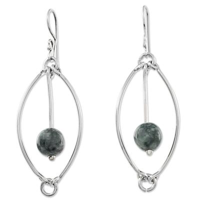 Jade dangle earrings, 'Dark Green Vortex' - Trendy 925 Sterling Silver Earrings with Guatemalan Jade