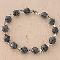 Jade strand bracelet, 'Historical Spheres' - Dark Green Guatemalan Jade Bracelet Artisan Crafted Jewelry