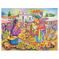 'Market of Chichicastenango' - Original Oil Painting of Market Scene from Guatemala