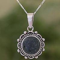 Jade pendant necklace, 'Green Antigua Sun'
