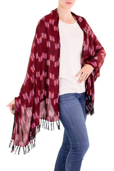 Cotton shawl, 'Homeland Colors' - 100% Cotton Shawl in Red Black and Multicolor Accents