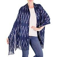 Cotton shawl, 'Lucky Diamonds' - 100% Cotton Shawl with Fringes and Blue and White Diamonds