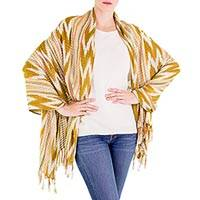 Cotton shawl, 'Sunny Wheat Field' - 100% Cotton Shawl with Mustard and White Chevron Pattern