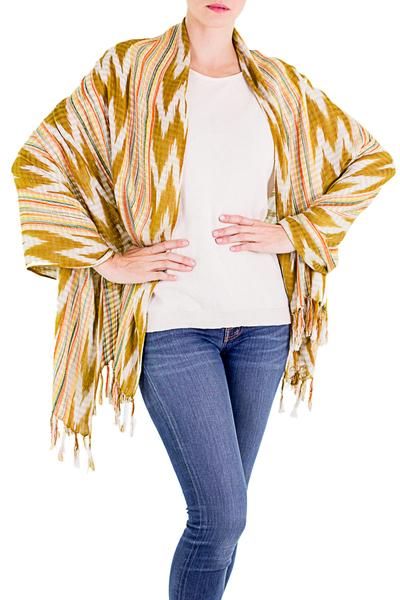 Cotton shawl, 'Sunny Wheat Field' - 100% Cotton Shawl with Mustard and White Chevron Pattern