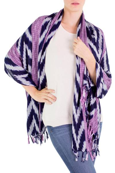 Cotton shawl, 'Blue and Purple Nebula' - 100% Cotton Shawl with Blue Purple and Gray Chevron Stripes