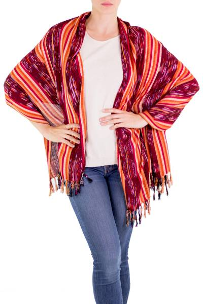 Cotton shawl, 'Traditional Stripes' - 100% Cotton Shawl with Multicolor Stripe Pattern and Fringes