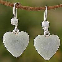 Jade dangle earrings, 'Mayan Heart' - White Heart Shaped Jade Silver Dangle Earrings Guatemala