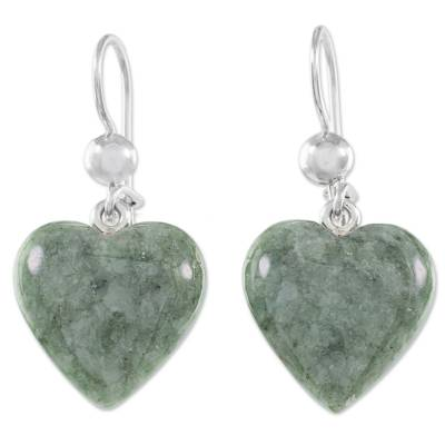 Jade dangle earrings, 'Mayan Heart in Green' - Green Heart Shaped Jade Silver Dangle Earrings Guatemala