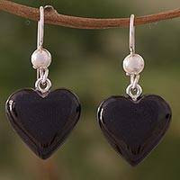Jade dangle earrings, 'Mayan Heart in Black'