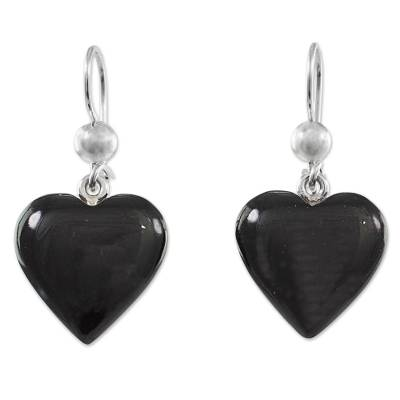 Jade dangle earrings, 'Mayan Heart in Black' - Black Heart Shaped Jade Silver Dangle Earrings Guatemala