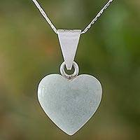 Jade pendant necklace, 'Mayan Heart'