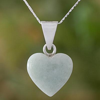 Jade pendant necklace, 'Mayan Heart' - Jade Sterling Silver Heart Shape Pendant Necklace Guatemala