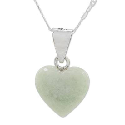 Jade pendant necklace, 'Mayan Heart' - Jade Sterling Silver Heart Shape Pendant Necklace Guatemala