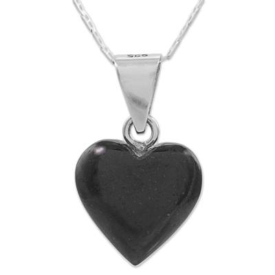 Jade pendant necklace, 'Mayan Heart in Black' - Black Jade Sterling Silver Heart Pendant Necklace Guatemala
