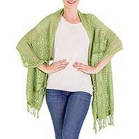 Cotton shawl, 'Fresh Mint'