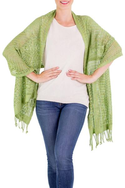 Cotton shawl, 'Fresh Mint' - Green 100% Cotton Shawl with Open Spaces and Fringes