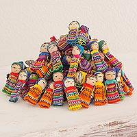 Cotton figurines, 'The Worry Doll Clan' (set of 100)