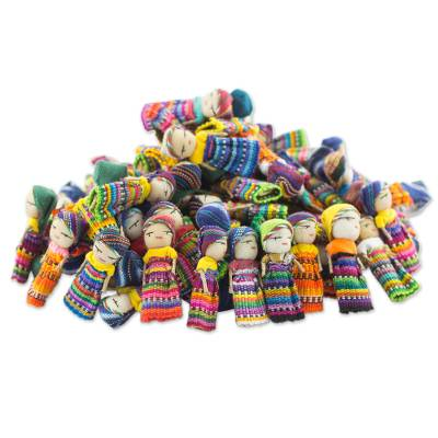 Cotton figurines, 'The Worry Doll Clan' (set of 100) - Set of 100 Guatemalan Worry Dolls with Pouch in 100% Cotton