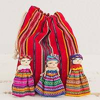 Cotton figurines, 'Worry Doll Dancers (set of 12)