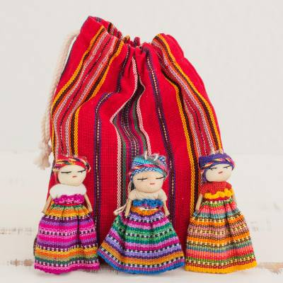 Cotton figurines, 'Worry Doll Dancers (set of 12) - Hand Made Cotton Figurines and Bag (Set of 12) Guatemala