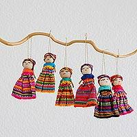 Cotton ornaments, 'Worry Dolls' (set of 6) - Set of 6 Guatemalan Worry Doll Ornaments Crafted by Hand
