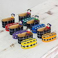Boxed worry dolls, 'Country Treasures' (set of 6) - Six Cotton Worry Dolls and Pinewood Boxes from Guatemala