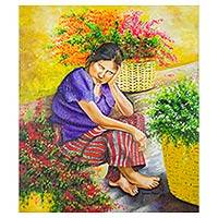 'Fading Flower' (2014) - Original Oil Painting Portrait of a Woman from Guatemala