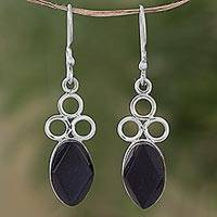 Jade dangle earrings, 'Jade Trinity in Black' - Black Jade Sterling Silver Dangle Earrings Guatemala
