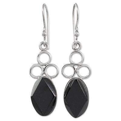 Jade dangle earrings, 'Jade Trinity in Black' - Black Jade Sterling Silver Dangle Earrings Guatemala