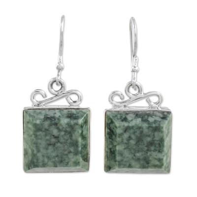 Jade dangle earrings, 'Smooth Sailing' - Pale Green Guatemalan Jade Sterling Silver Dangle Earrings