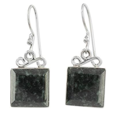 Jade dangle earrings, 'Smooth Sailing in Dark Green' - Green Jade Sterling Silver Dangle Earrings Guatemala