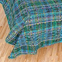 Cotton duvet cover, 'Ancestral Paths' - 100% Cotton Duvet Cover Cerulean Daffodil from Guatemala
